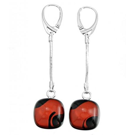 Kolczyki wiszące z łańcuszkiem z kolekcji Maki Czerwone
