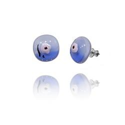 Kolczyki wkrętki z kolekcji Magnolia Niebieska